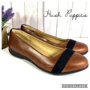 Hush Puppies Black and Brown Leather Flats 6.5W
